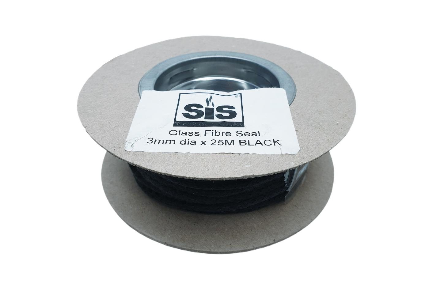 A 25 metre reel of Black 3mm standard stove rope - product code R325b