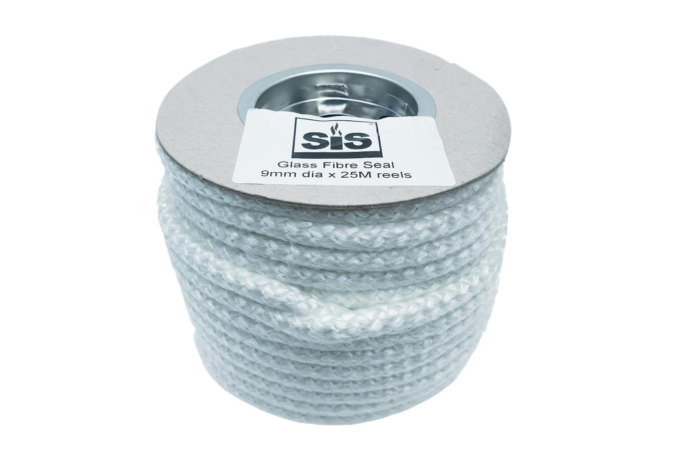 A 25 metre reel of white 9mm standard stove rope - product code R925