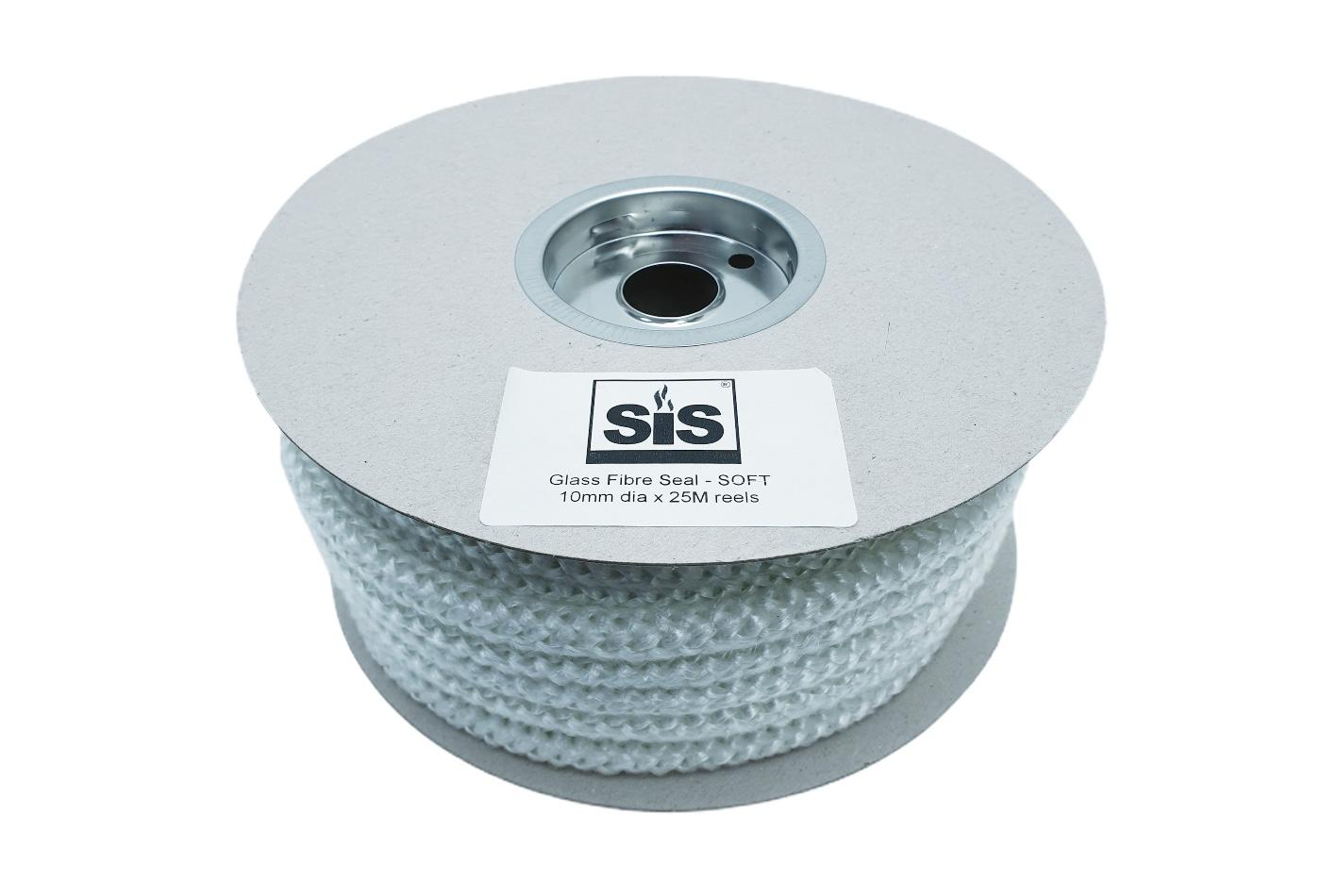 A 25 metre reel of white 10mm soft stove rope - product code RS1025