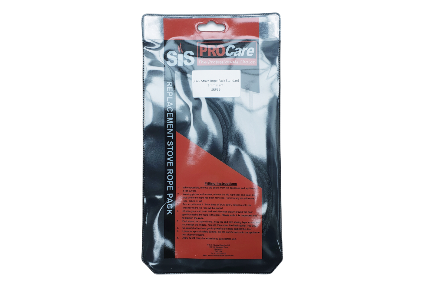 SiS Procare Black 3 milimetre x 2 metre Standard Stove Rope Pack - product code SRP3B
