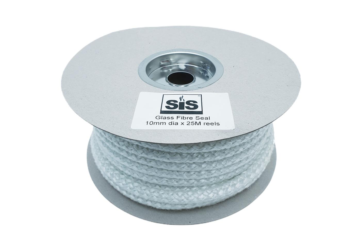 A 25 metre reel of white 10mm standard stove rope - product code R1025