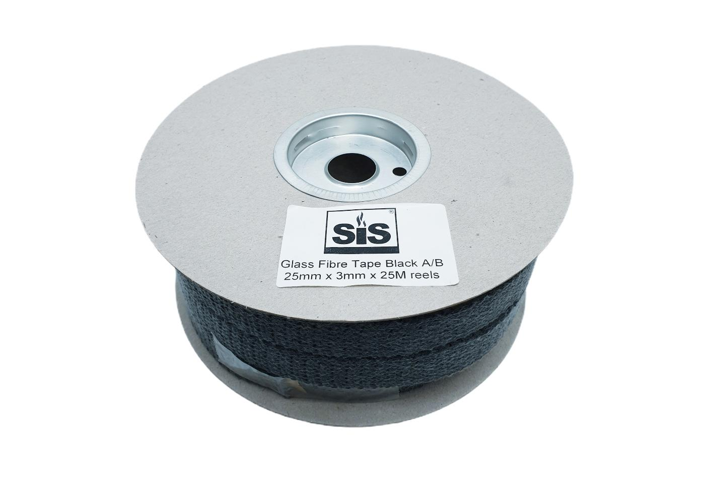 A 25 metre reel of 25mm x 3mm Black Self-Adhesive Backed Flat Rope Tape - product code RSA2525B