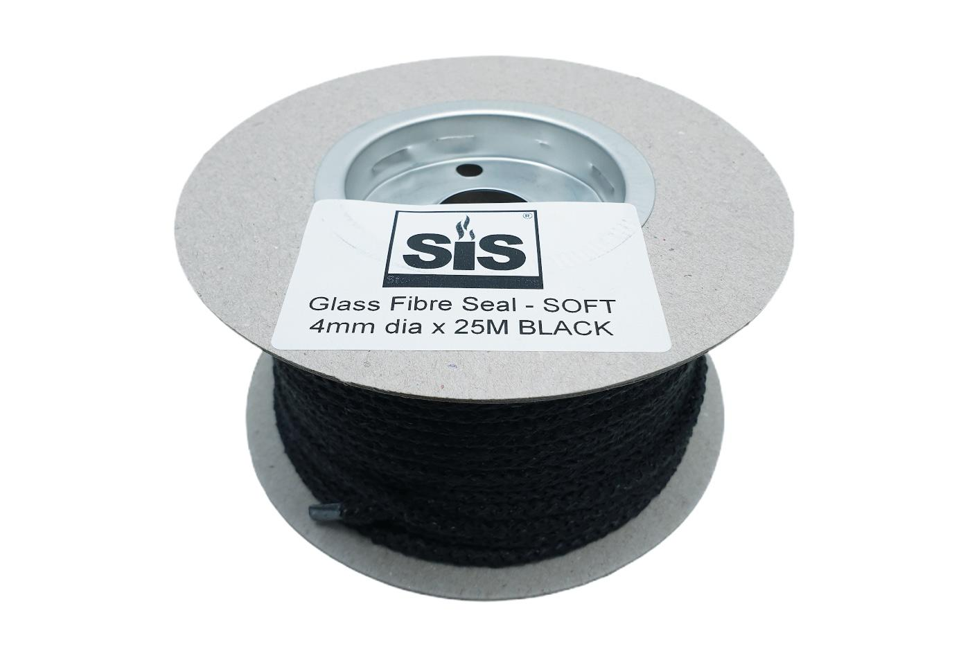 A 25 metre reel of Black soft stove rope- product code RS425b