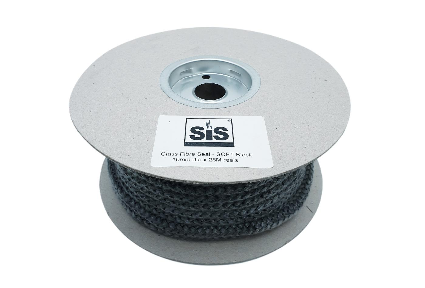 A 25 metre reel of black 10mm soft stove rope- product code RS1025B