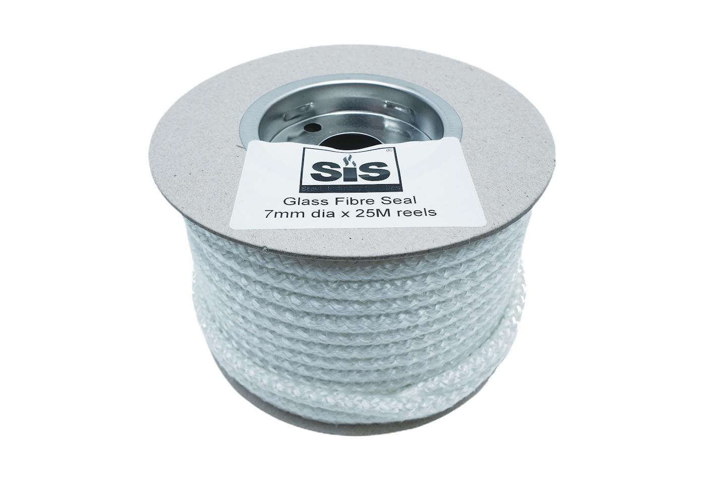 A 25 metre reel of white 7mm standard stove rope - product code R725