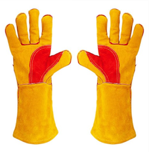 A pair of yellow heavy duty gauntlets - suitable for use with woodburning and multi fuel stoves.
