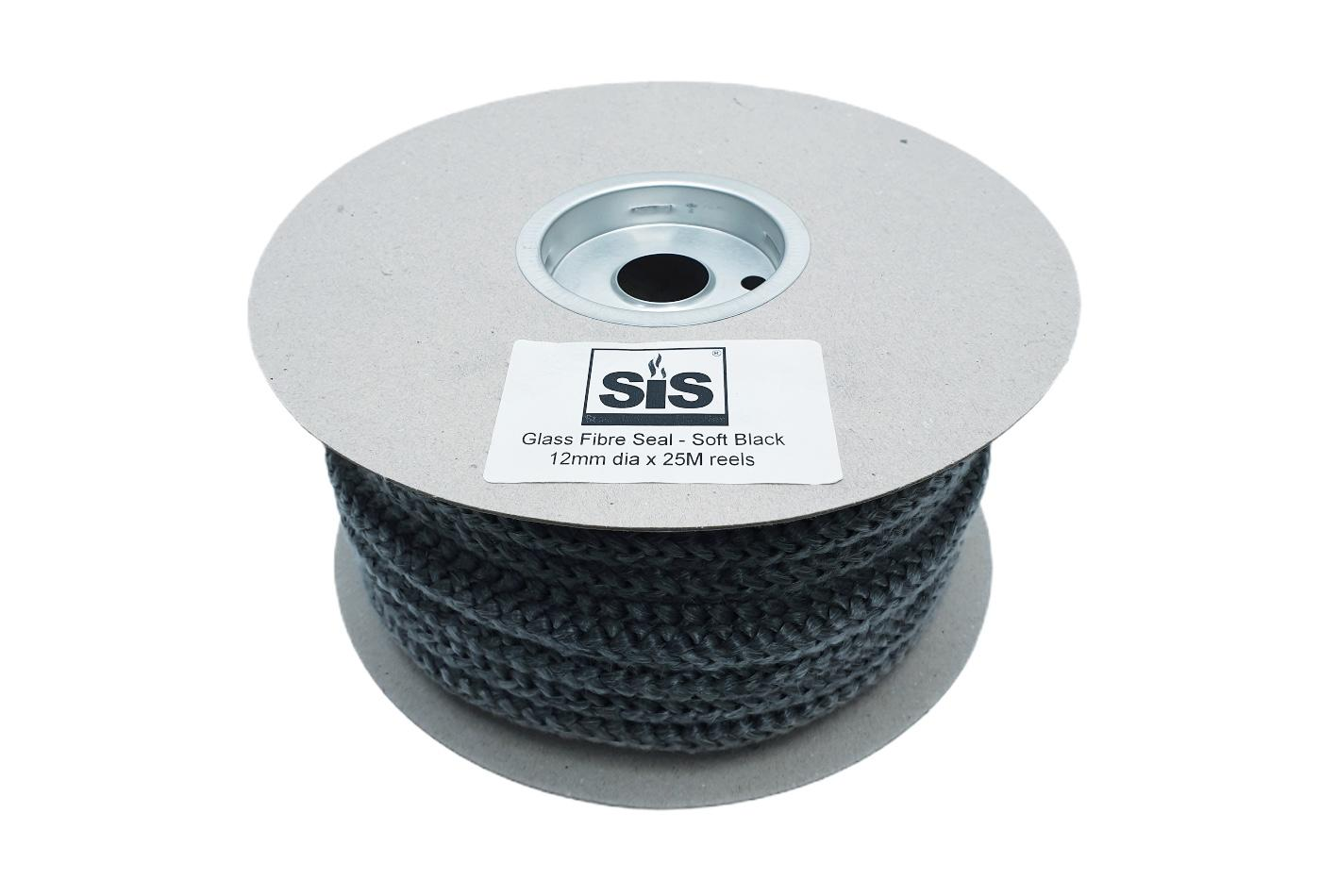 A 25 metre reel of black soft stove rope - product code RS1225b