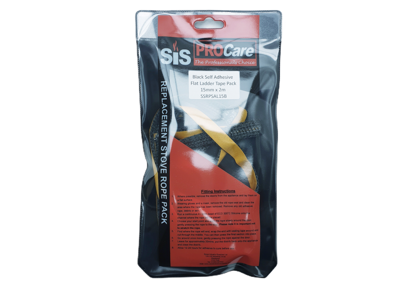 SiS Procare Black 15 milimetre x 2 metre Black Self Adhesive Backed Ladder Tape Pack
