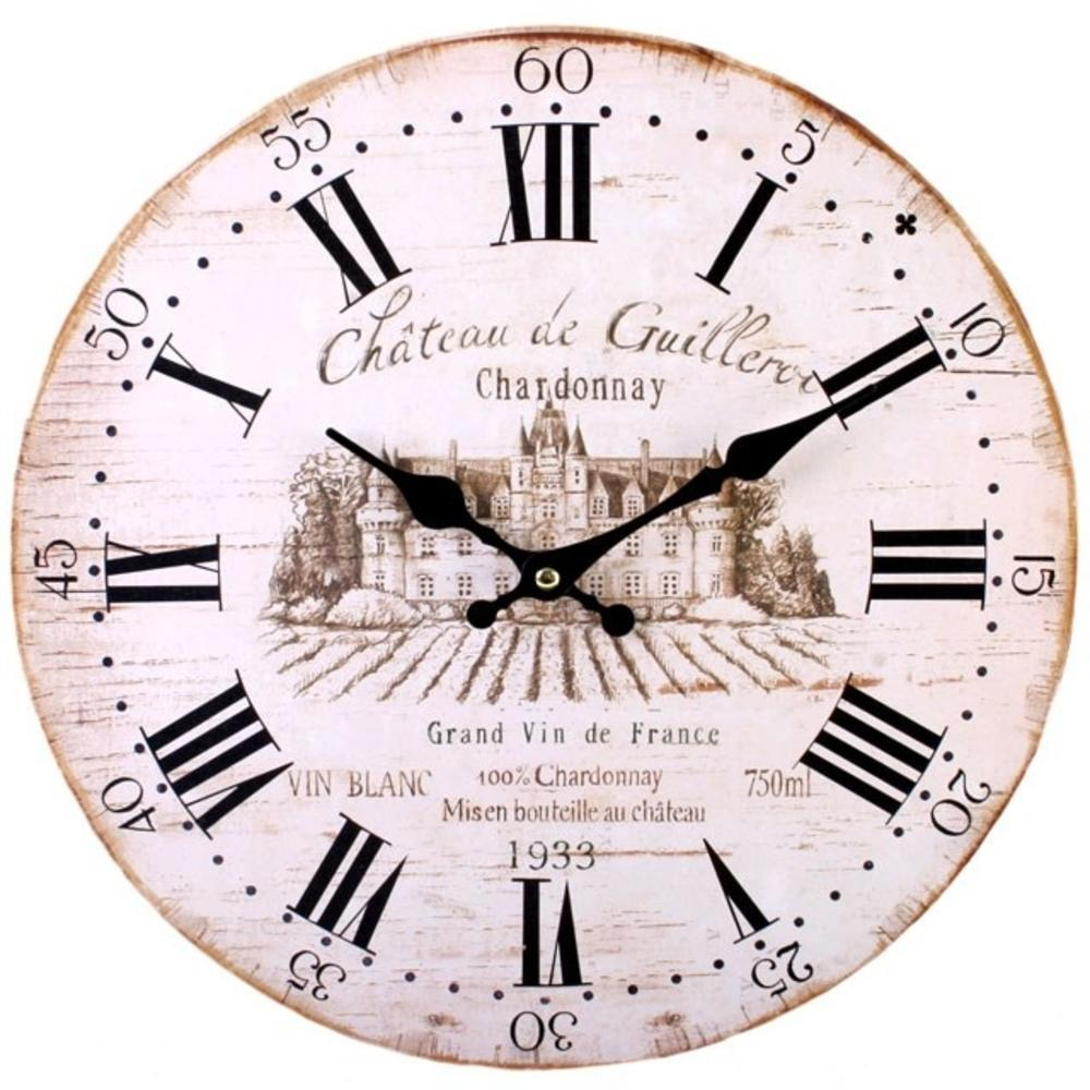 Shabby Chic Chateau De Guilleroi Wall Clock, a round wooden shabby chic clock with a vintage wine design.