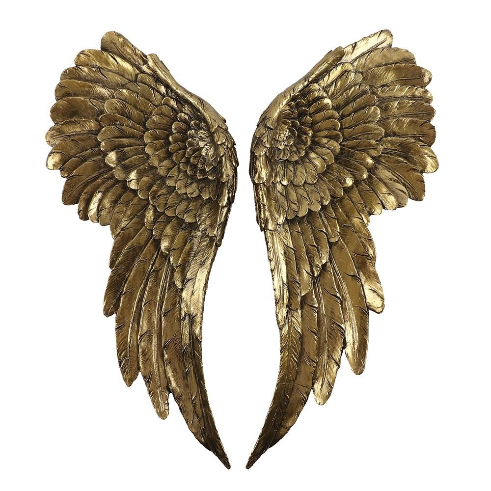 A large pair of angel wings for creating impactful focal point on a wall. Features a stunning antique gold finish that's elegant and eye-catching.