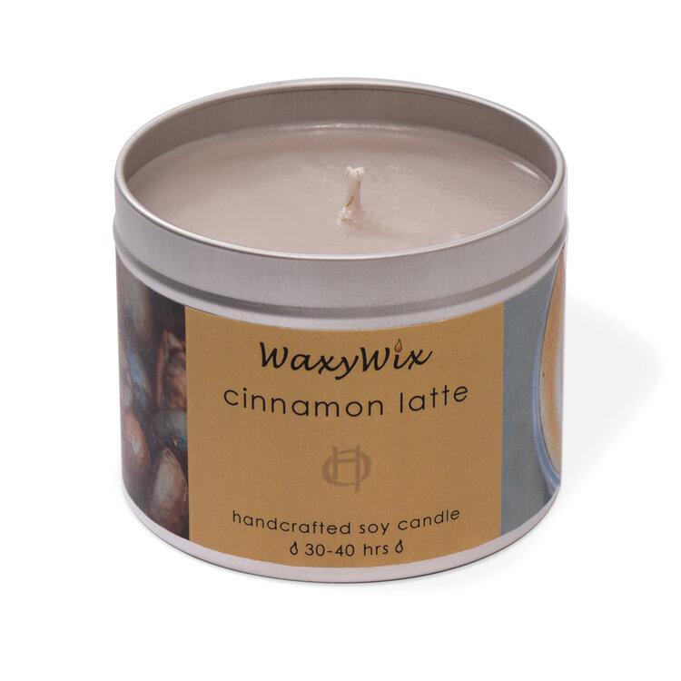 Cinnamon Latte Handcrafted Soy Candle Tin, handmade by WaxyWix