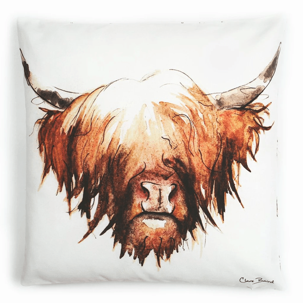 Reversible design - Large watercolour highland cow cushion with small patterned highland cows on the reverse, handmade by Clare Baird.