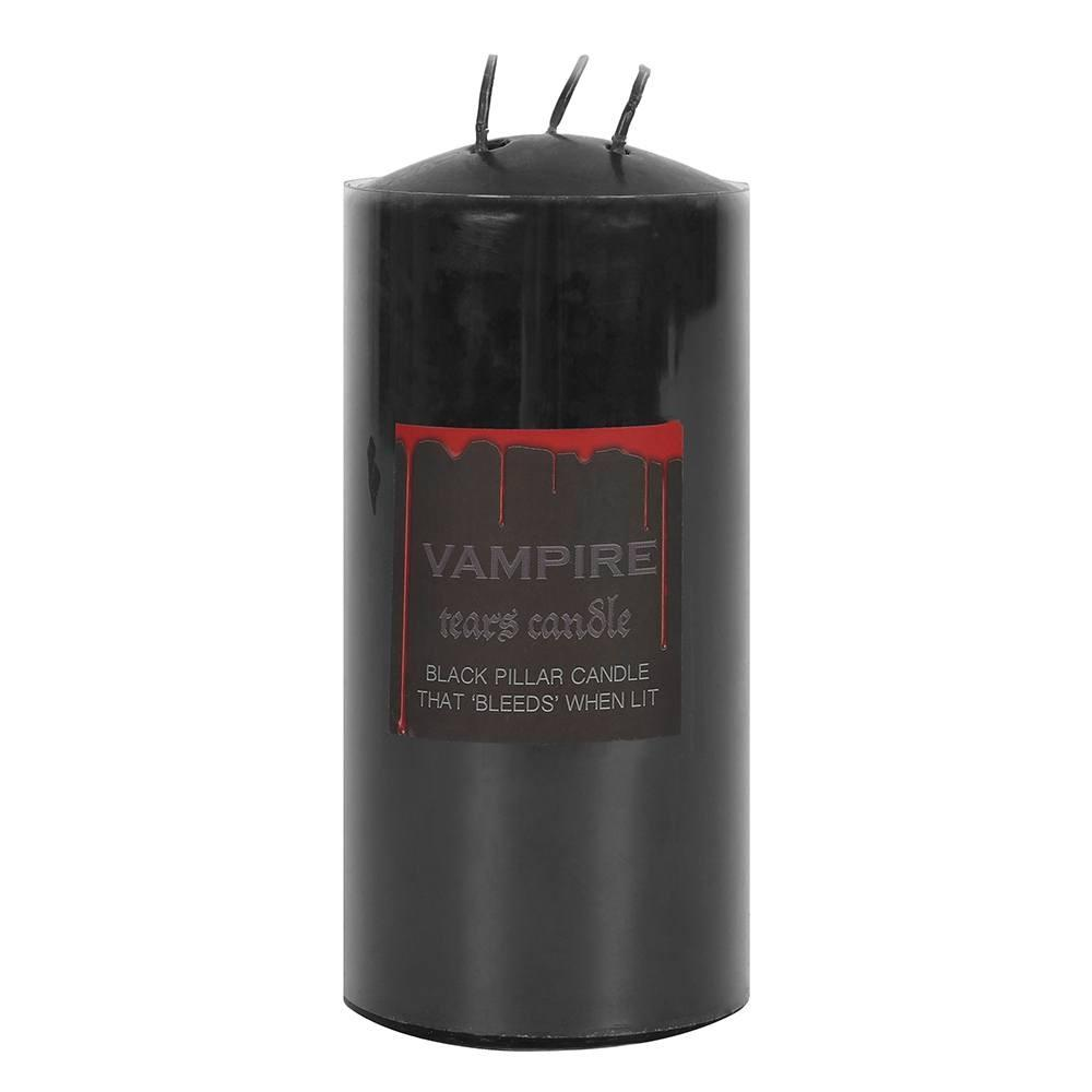 This pillar Vampire Tears candle gets its name from the bright red coloured wax which melts and drips after lighting the wicks.