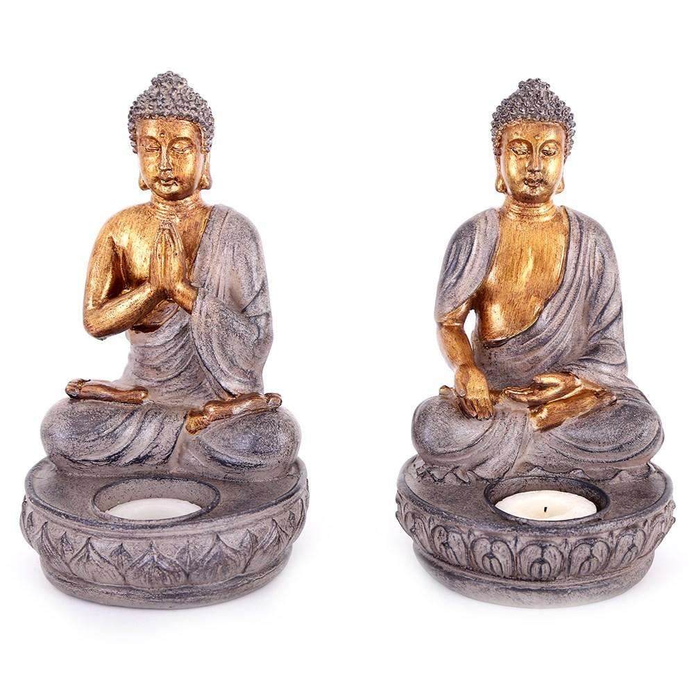This pair of ornamental Buddha candle holders are a great accessory for the home and would look lovely placed on a coffee table, shelf or mantelpiece.