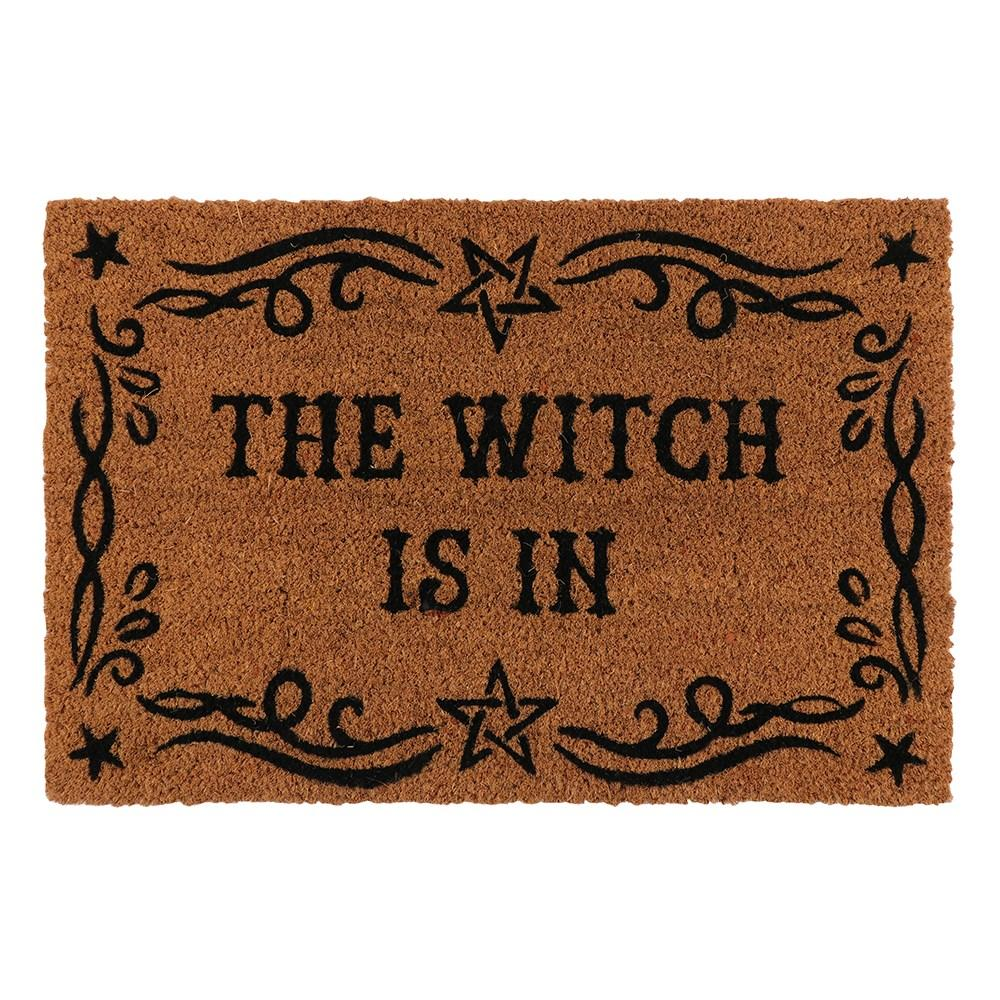A natural coir doormat with printed 'The Witch Is In' text and a flourished border. Makes a fun welcome at the front door of any witch's home.
