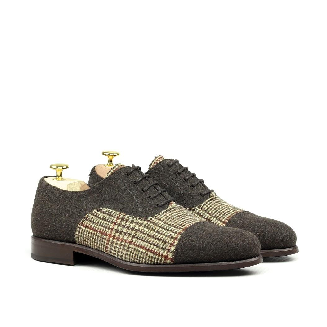 MANOR OF LONDON 'The Oxford' Grey Flannel & Tweed Shoe Luxury Custom Initials Monogrammed Front Side View