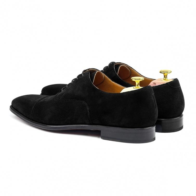 MANOR OF LONDON 'The Oxford' Black Suede Shoe Luxury Custom Initials Monogrammed Back Side View