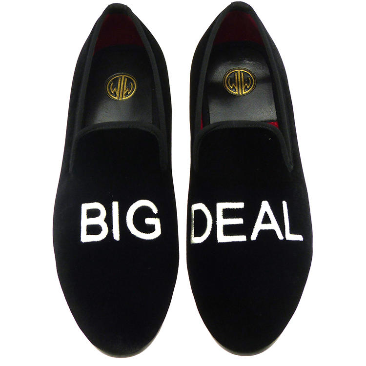 Manor of London BIG DEAL Black Velvet Leather Slip On Embroidery Luxury Custom Initials Slippers Top View