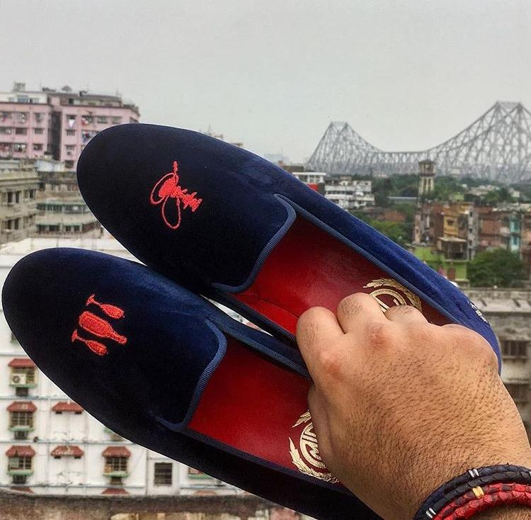 Manor of London SIP & SMOKE Navy Velvet Leather Slip On Embroidery Luxury Custom Initials Slippers Top View