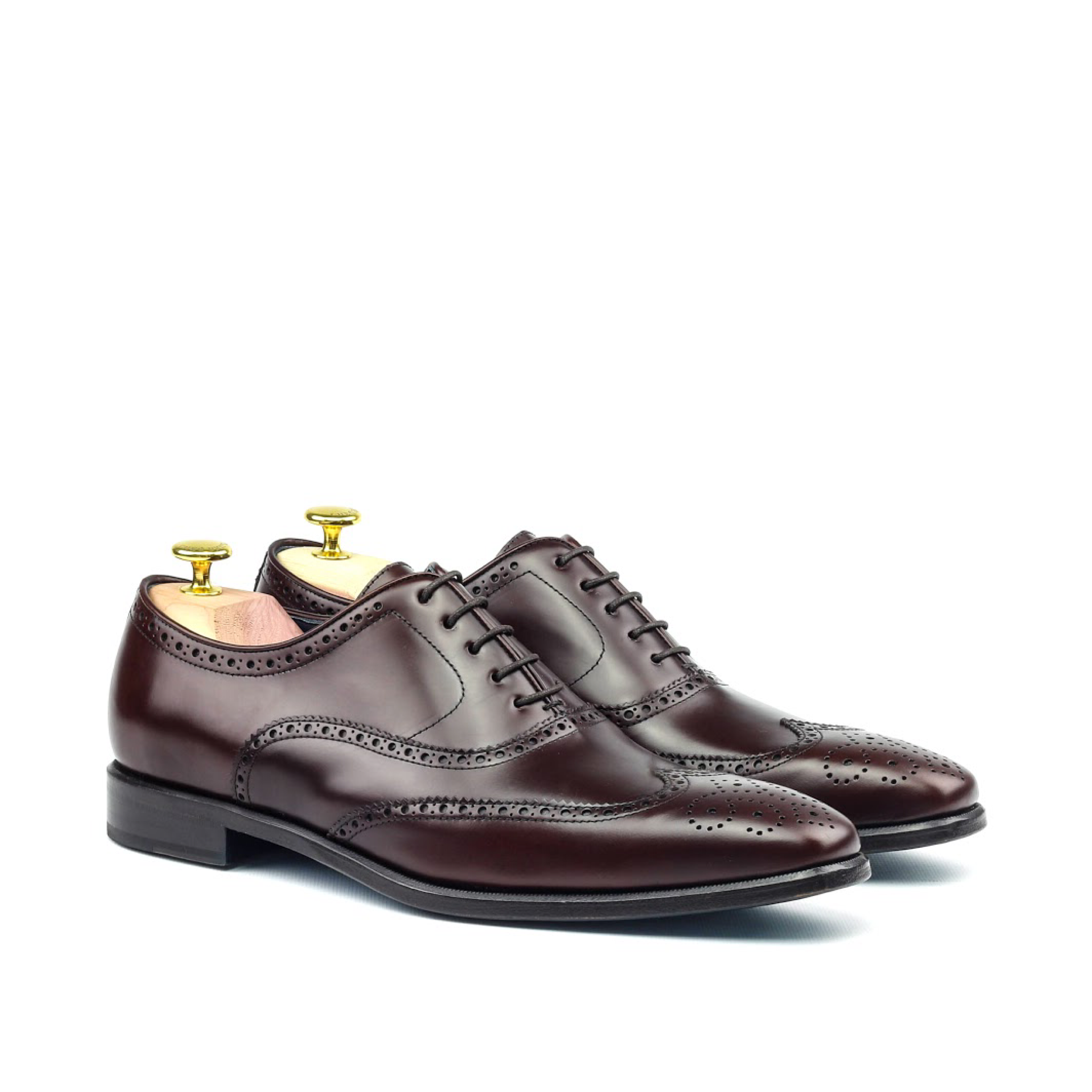 MANOR OF LONDON 'The Marylebone' Burgundy Calfskin Brogue Luxury Custom Initials Monogrammed Front Side View