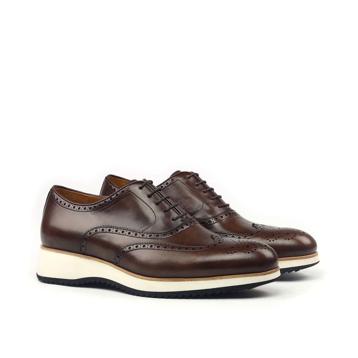 MANOR OF LONDON 'The Marylebone' Dark Brown Calfskin Brogue Luxury Custom Initials Monogrammed Front Side View