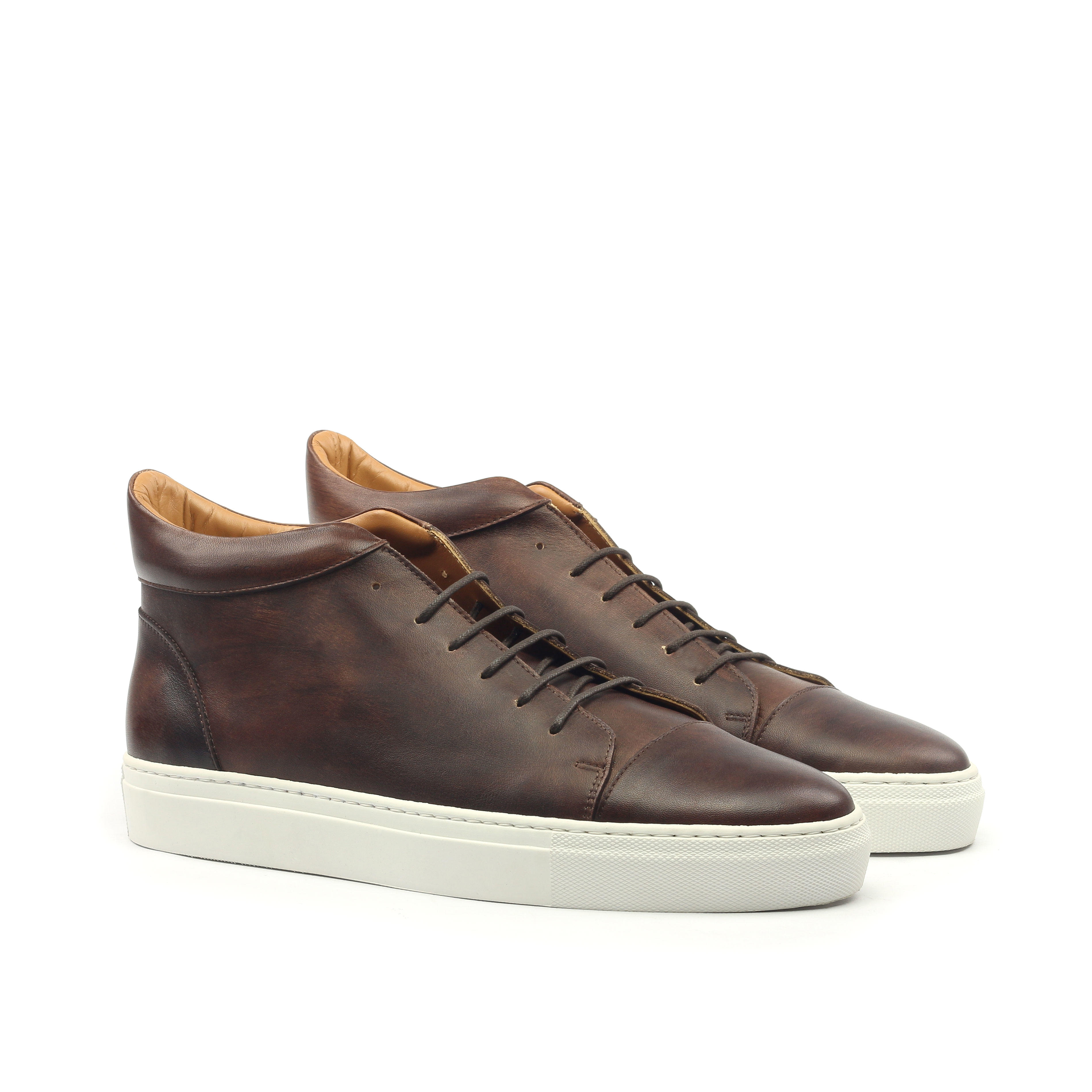 Manor of London 'The Joshua' Brown Calfskin High-Top Trainer Luxury Custom Initials Monogrammed Front Side View