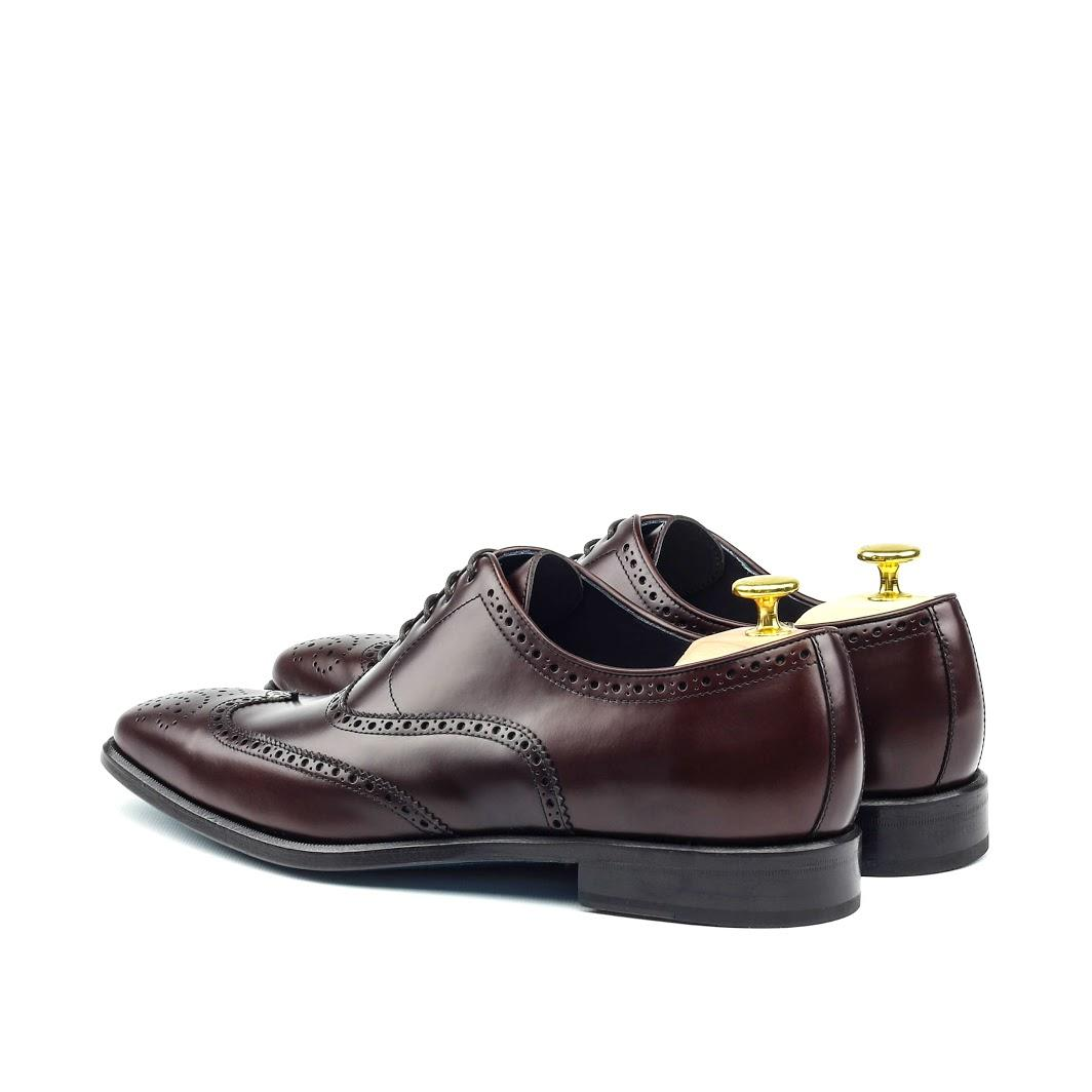 MANOR OF LONDON 'The Marylebone' Burgundy Calfskin Brogue Luxury Custom Initials Monogrammed Back Side View