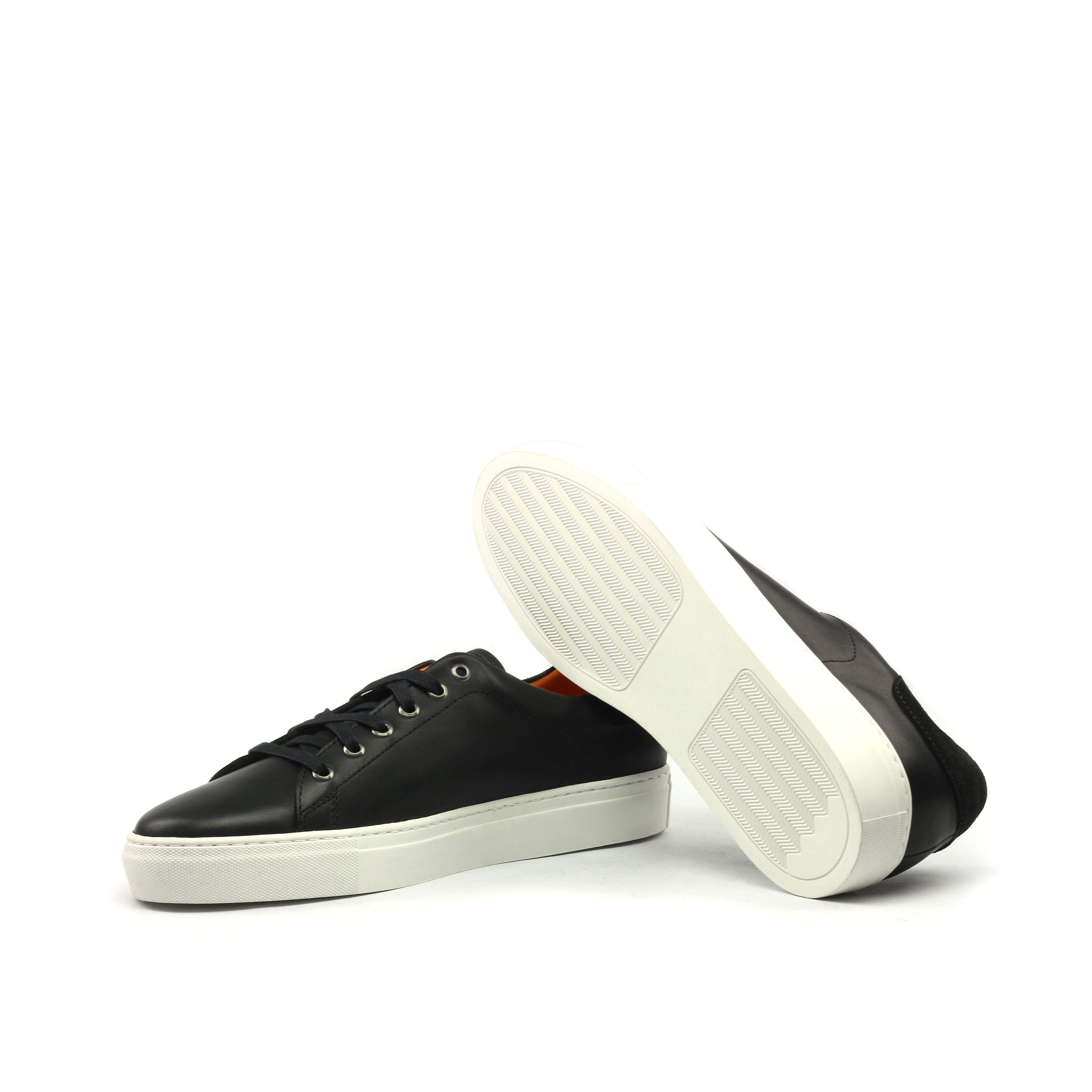 MANOR OF LONDON'The Perry' Painted Black Calfskin Tennis Trainer Luxury Custom Initials Monogrammed Bottom Side View