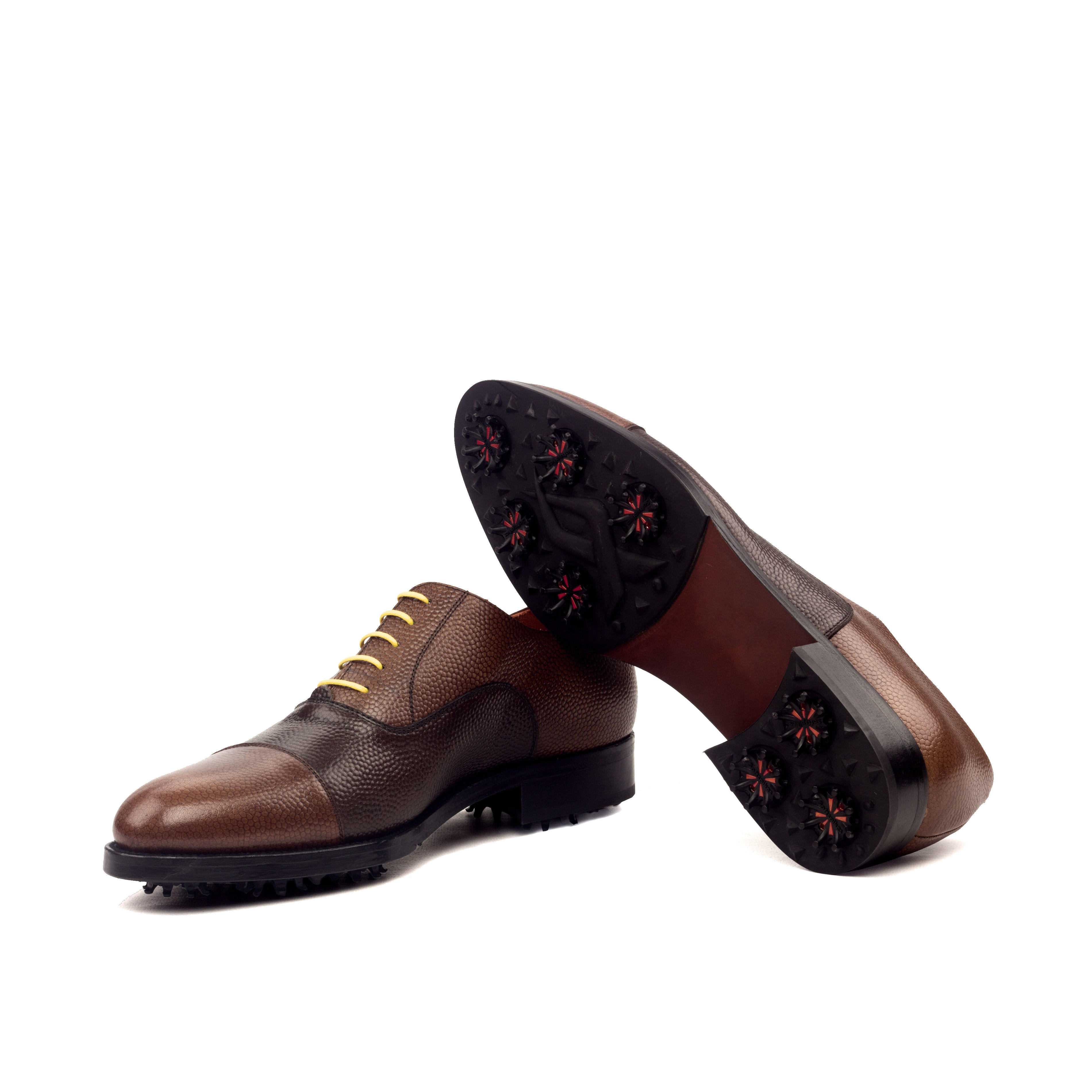 MANOR OF LONDON 'The Oxford' Two Tone Brown Pebble Grain Golfing Shoe Luxury Custom Initials Monogrammed Bottom Side View