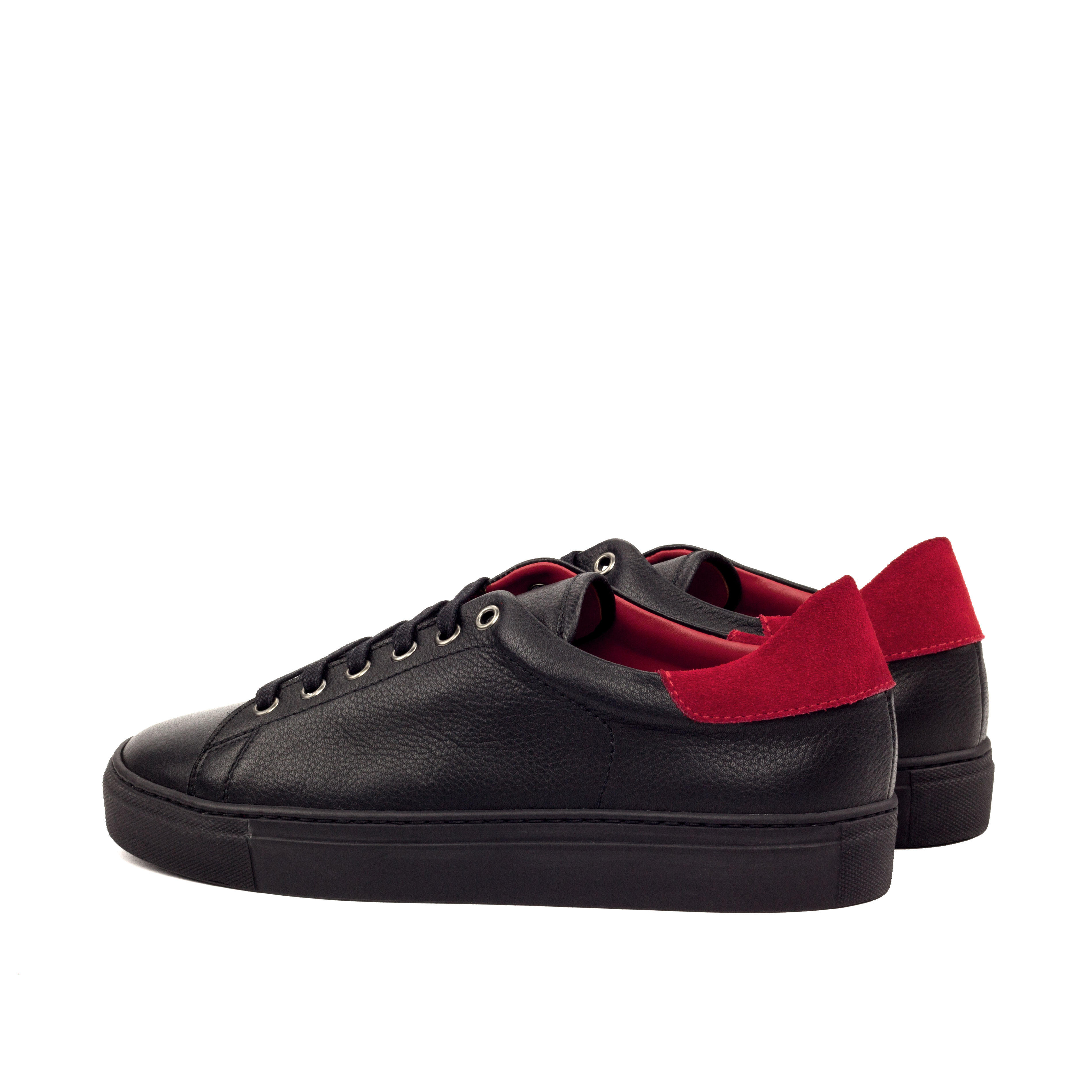 MANOR OF LONDON 'The Perry' Black Full Grain Tennis Trainer Luxury Custom Initials Monogrammed Back Side View