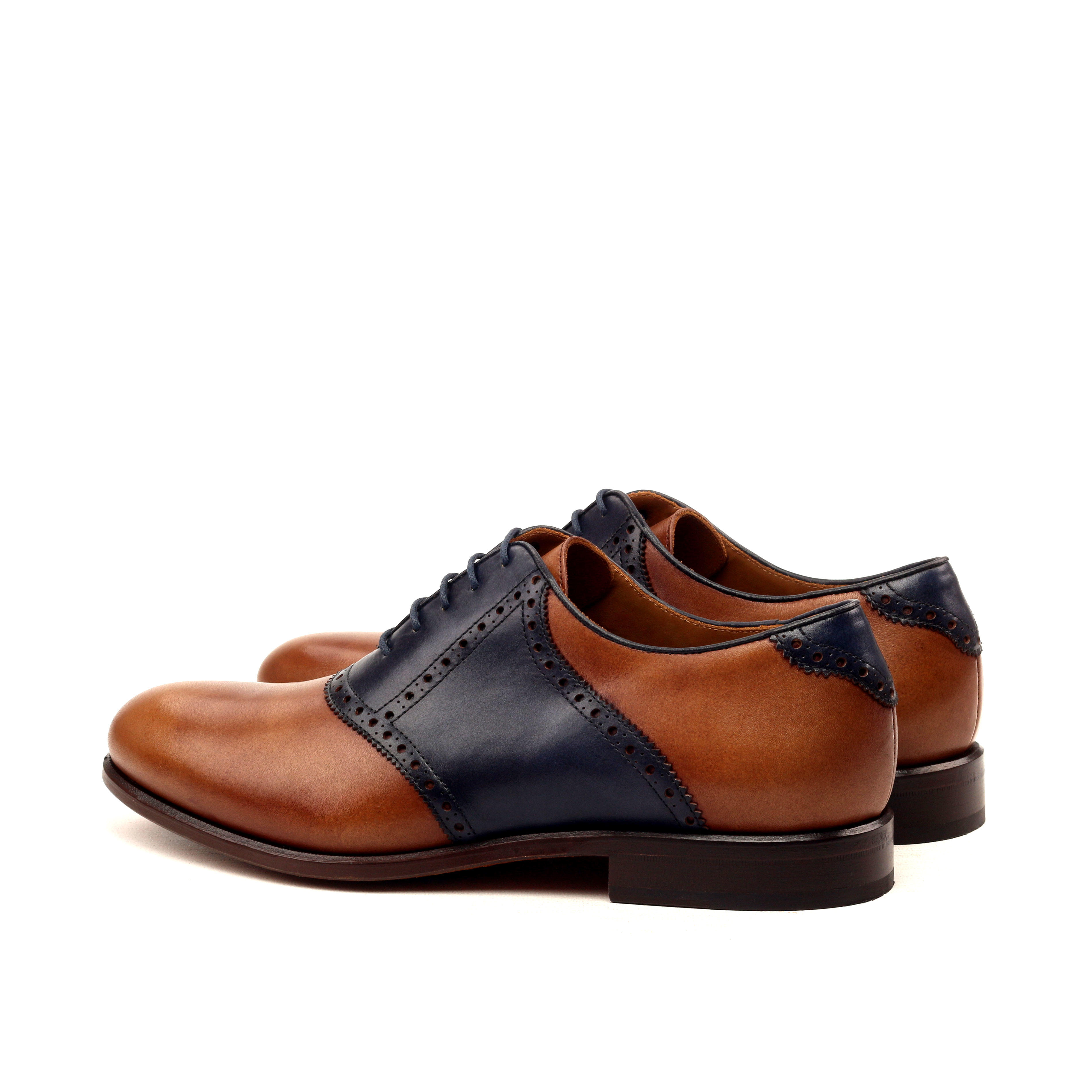 MANOR OF LONDON ''The Saddle' Navy & Brown Painted Calfskin Shoe Luxury Custom Initials Monogrammed Back Side View