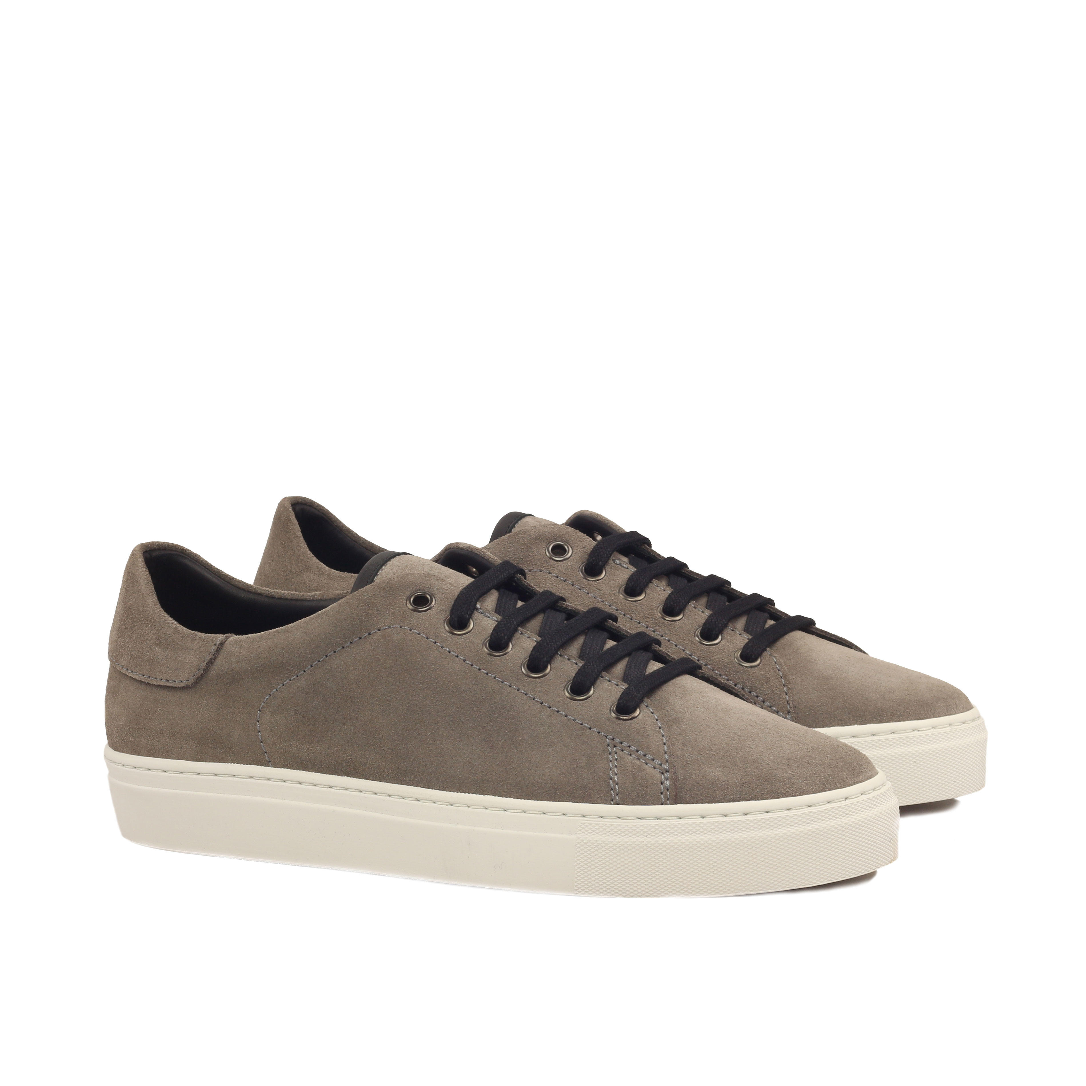 MANOR OF LONDON 'The Perry' Grey Suede Tennis Trainer Luxury Custom Initials Monogrammed Front Side View