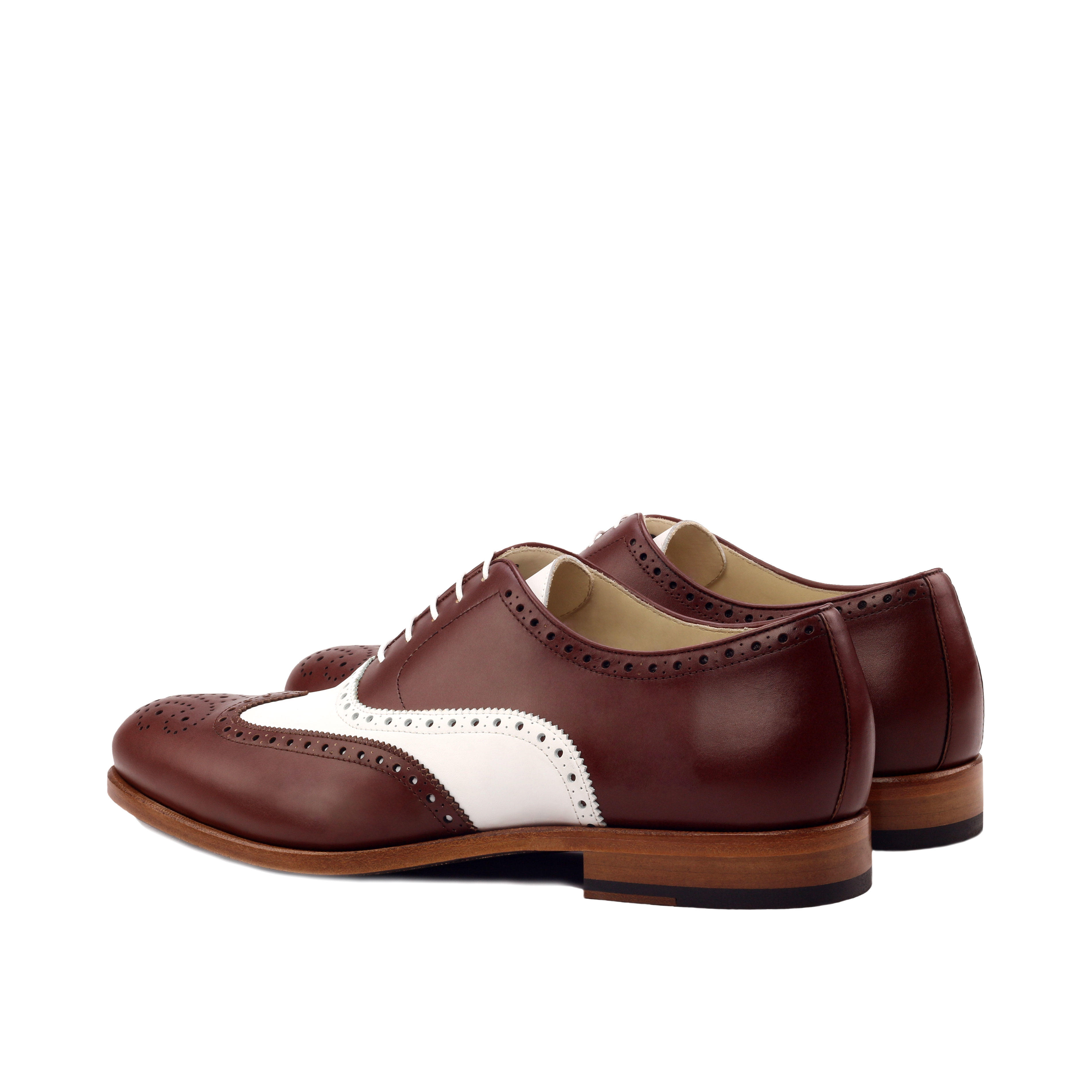 MANOR OF LONDON 'The Marylebone' Brown & White Calfskin Brogue Luxury Custom Initials Monogrammed Back Side View