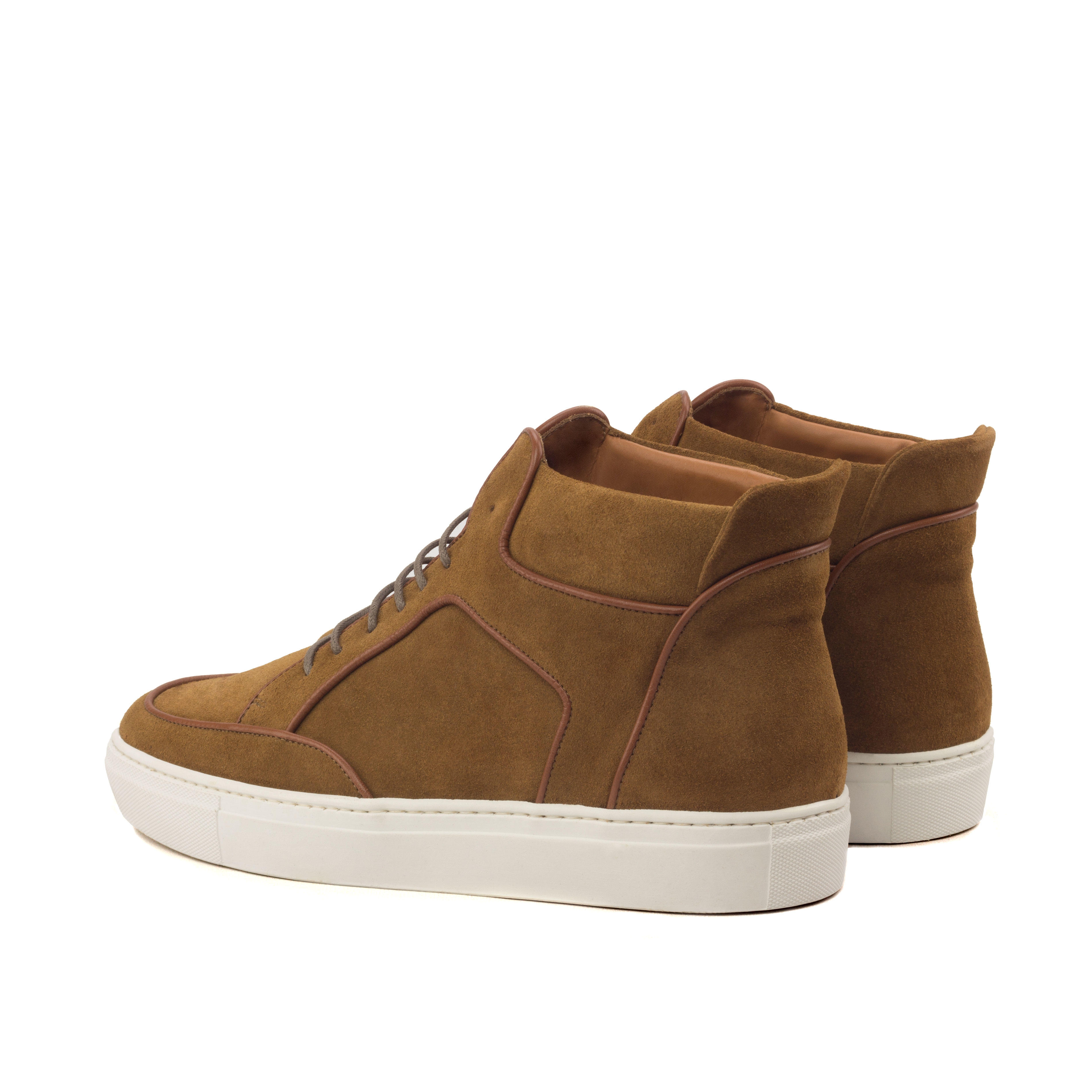 Manor of London 'The Hamilton' Camel Suede High-Top Trainer Luxury Custom Initials Monogrammed Back Side View