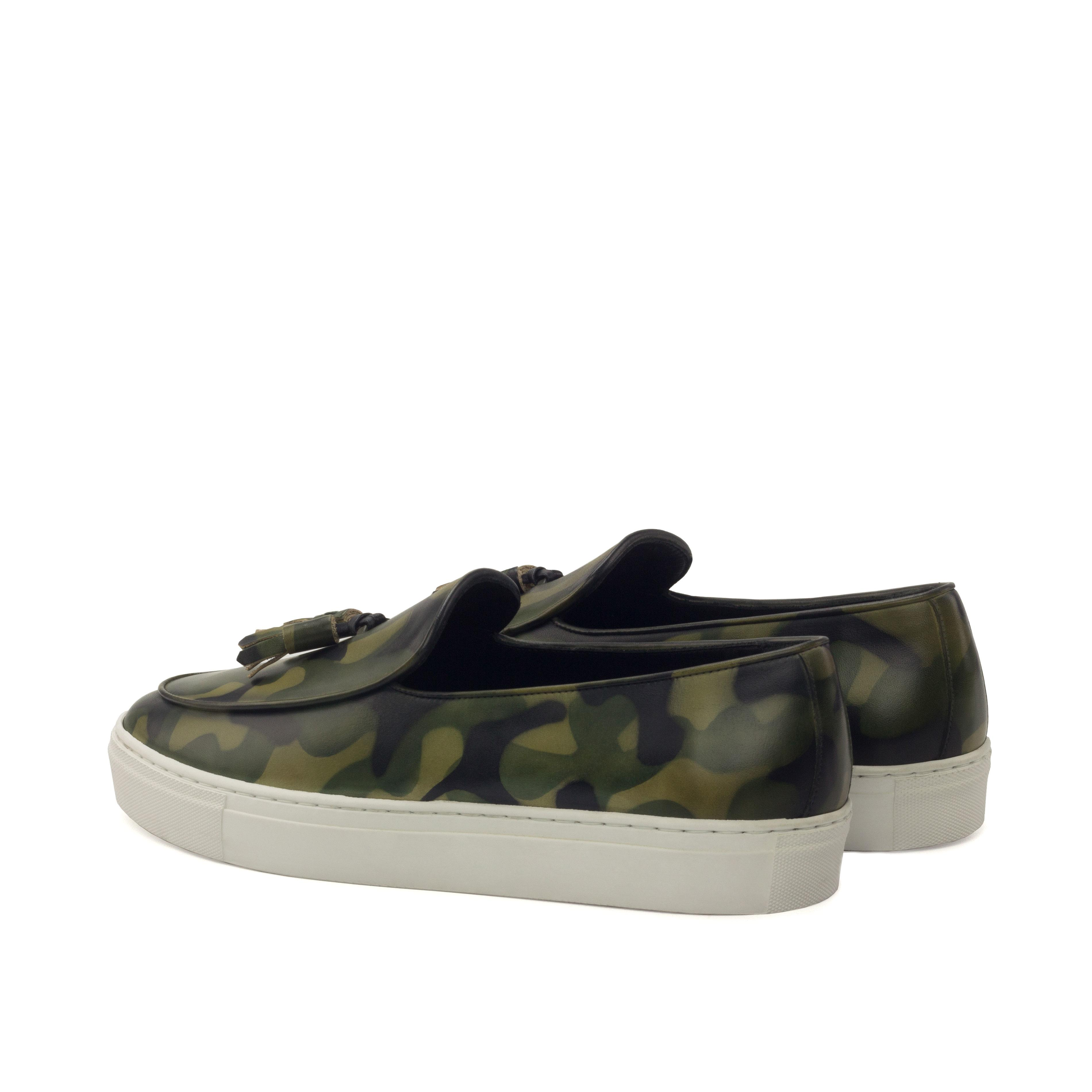 Manor of London 'The Dandy' Khaki Camo Patina Belgian Trainer Luxury Custom Initials Monogrammed Back Side View