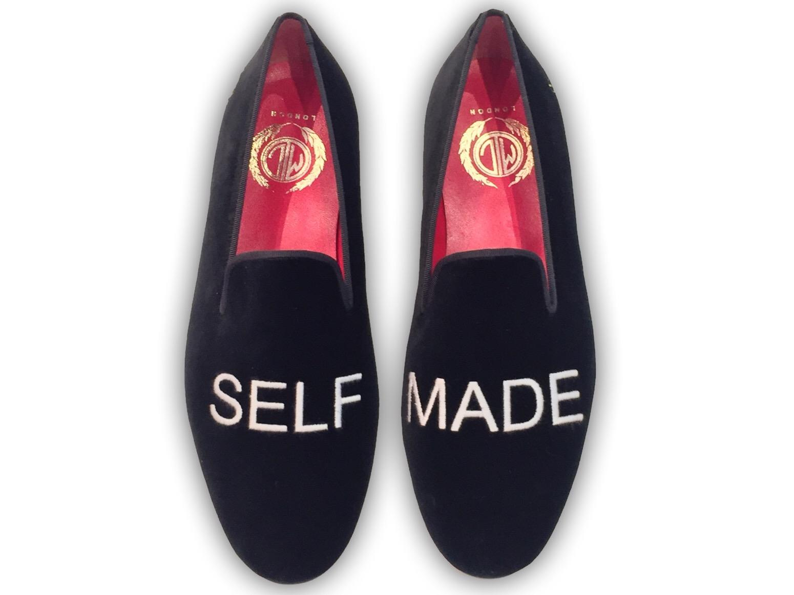 Manor of London SELF MADE Mens Black Velvet Leather Slip On Embroidery Luxury Custom Initials Slip  On Top View