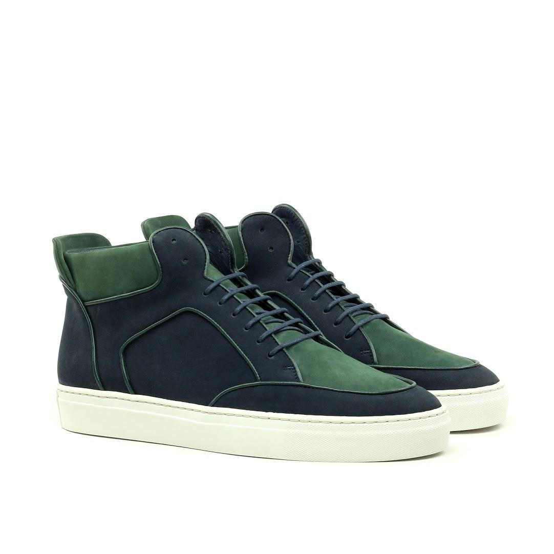Manor of London 'The Hamilton' Green & Navy Nubuck High-Top Trainer Luxury Custom Initials Monogrammed Front Side View