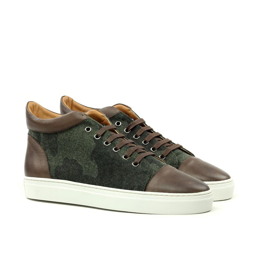 Manor of London 'The Joshua' Camo Flannel & Brown Calfskin High-Top Trainer Luxury Custom Initials Monogrammed Front Side View