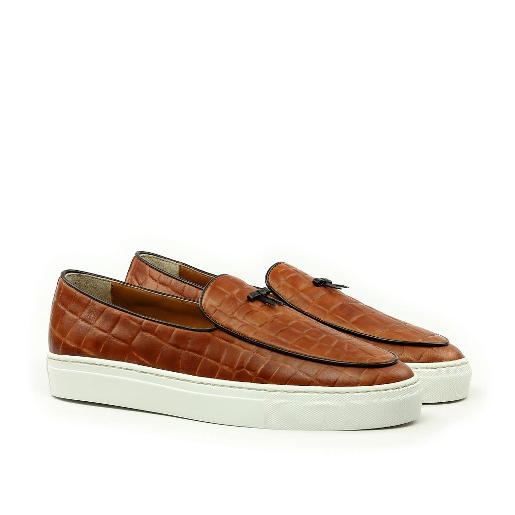 Manor of London 'The Dandy' Cognac Croco Belgian Trainer Luxury Custom Initials Monogrammed Front Side View