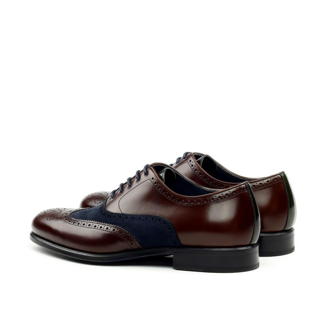 MANOR OF LONDON 'The Marylebone' Brown Calfskin & Navy Blue Suede Brogue Luxury Custom Initials Monogrammed Back Side View