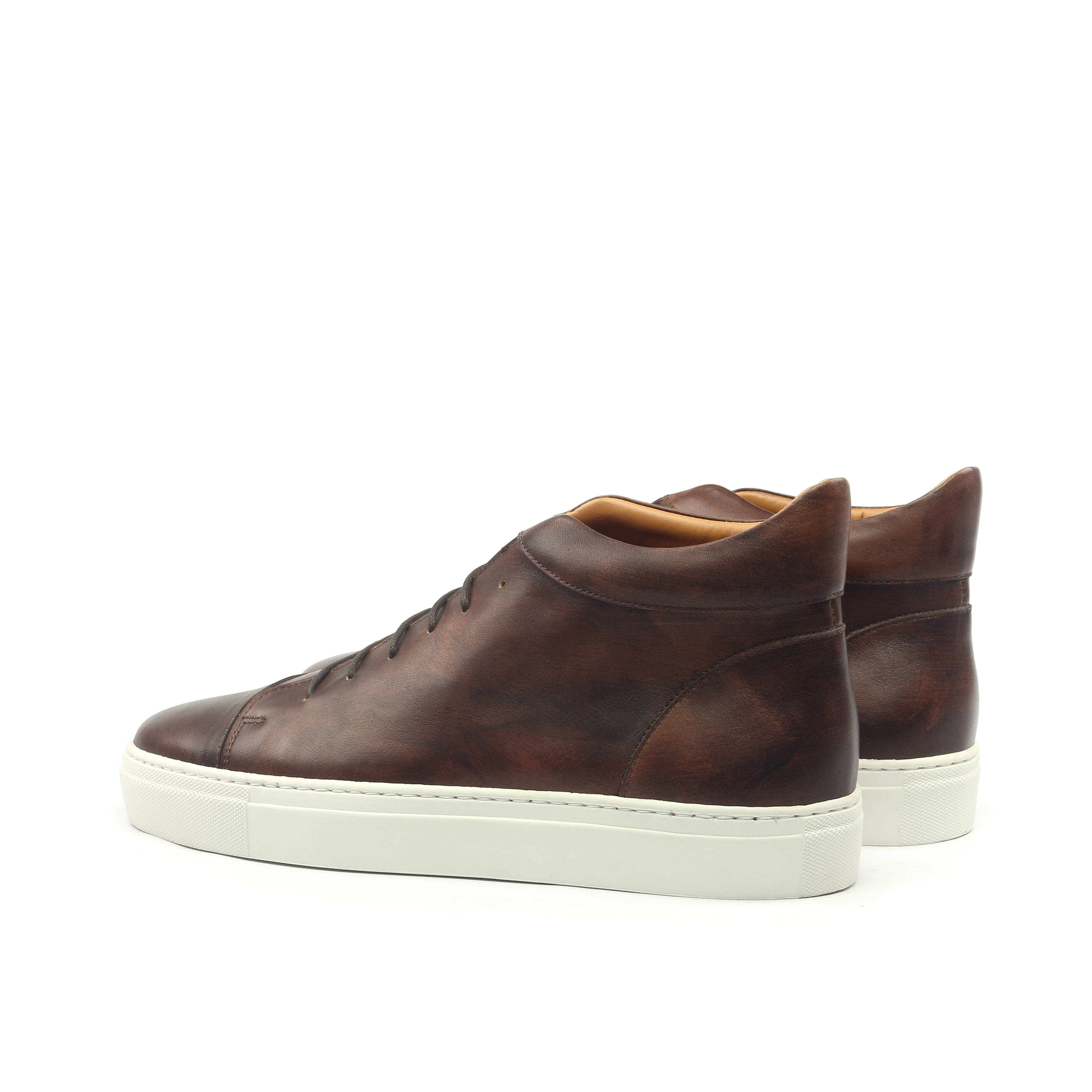 Manor of London 'The Joshua' Brown Calfskin High-Top Trainer Luxury Custom Initials Monogrammed Back Side View