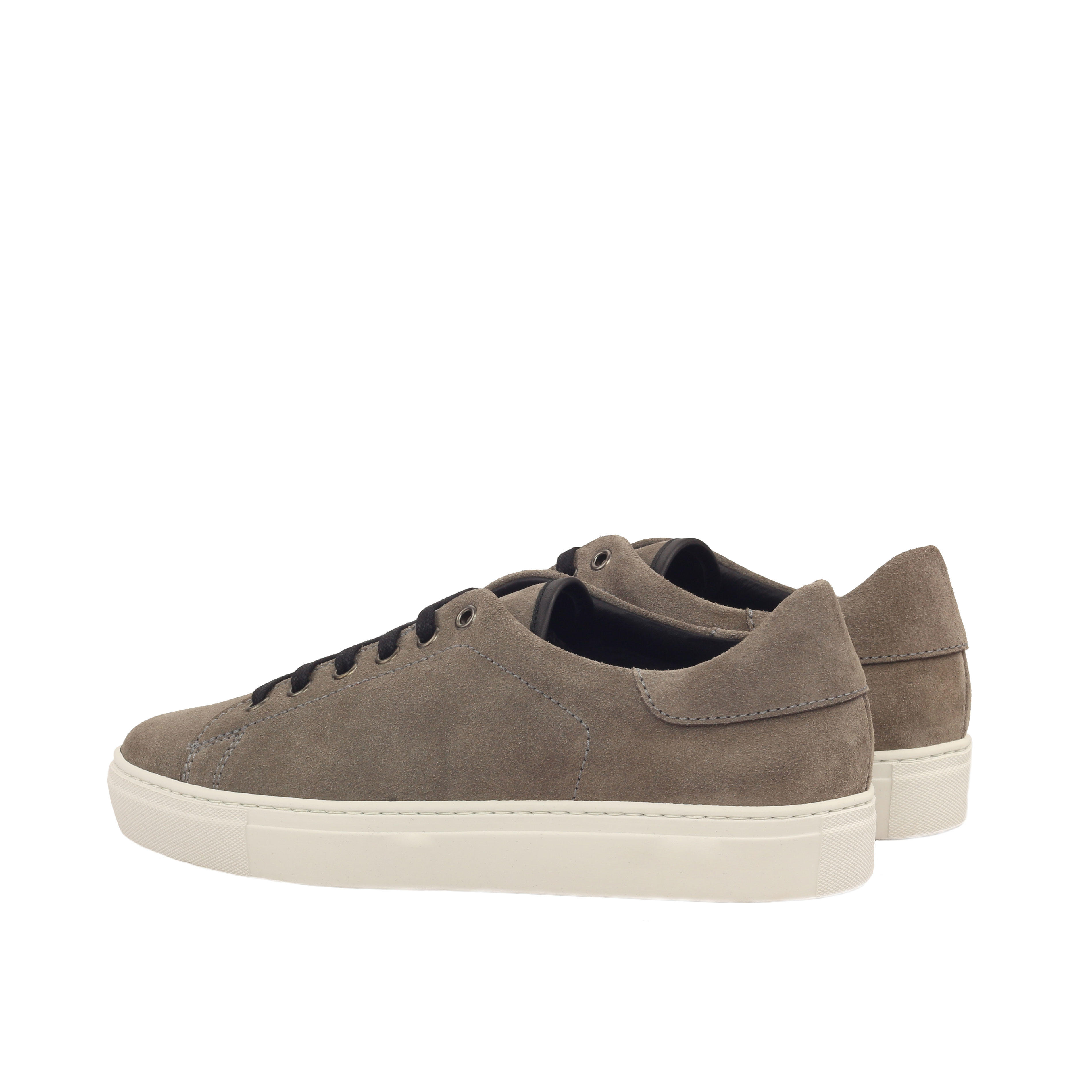 MANOR OF LONDON 'The Perry' Grey Suede Tennis Trainer Luxury Custom Initials Monogrammed Back Side View