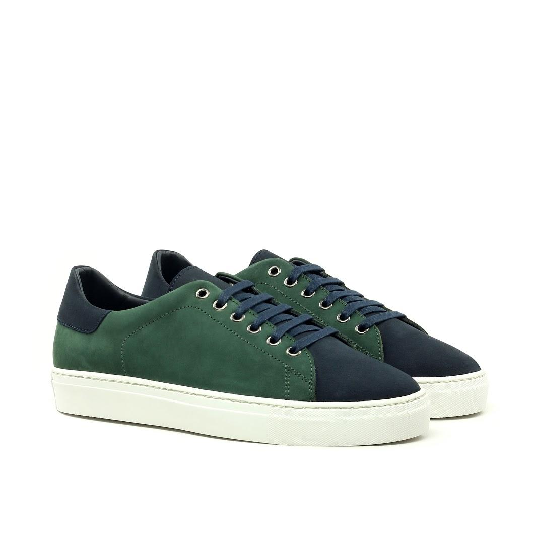 MANOR OF LONDON 'The Perry' Green & Navy Nubuck Tennis Trainer Luxury Custom Initials Monogrammed Front Side View