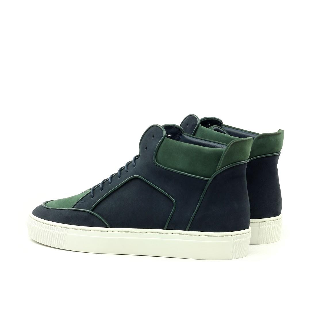 Manor of London 'The Hamilton' Green & Navy Nubuck High-Top Trainer Luxury Custom Initials Monogrammed Back Side View