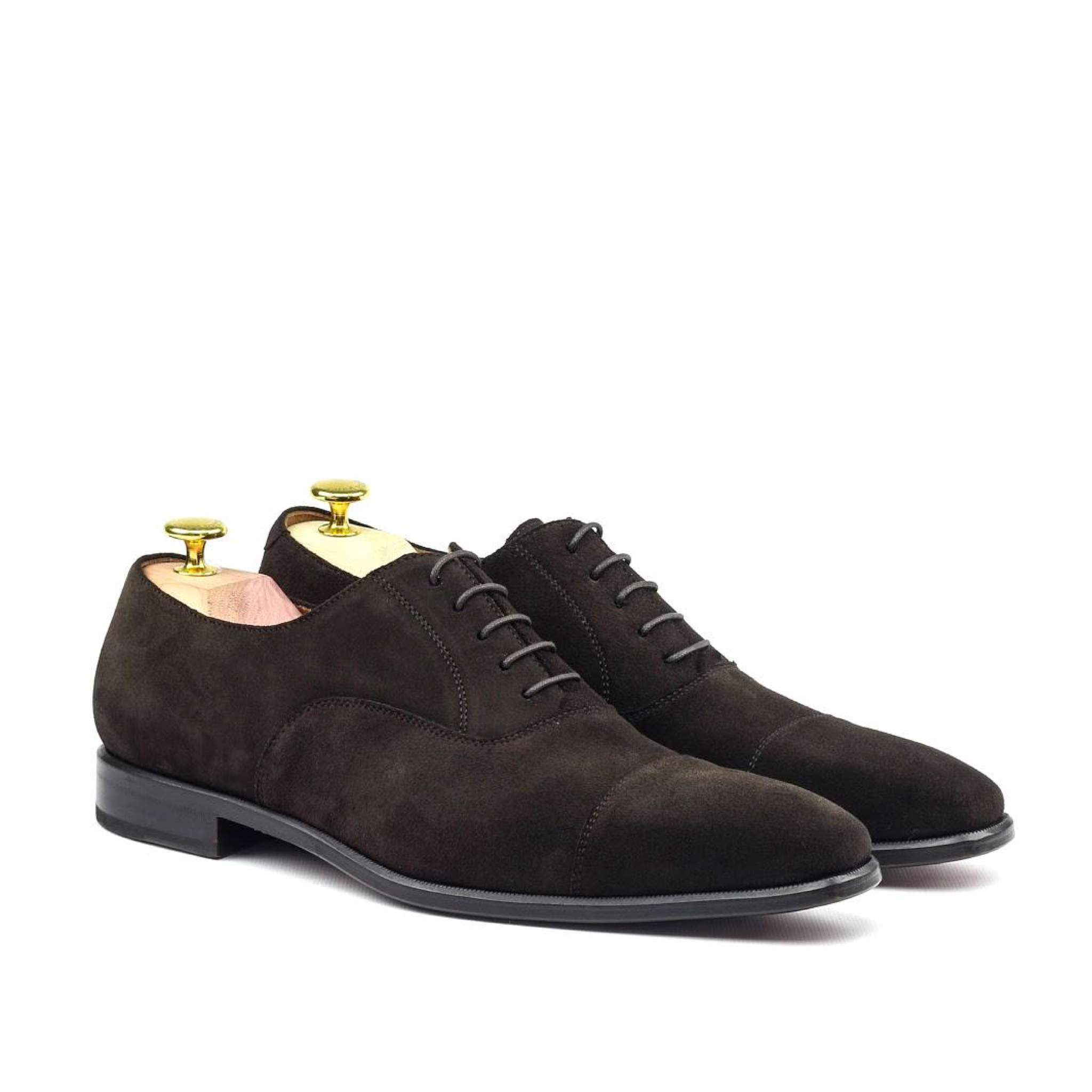 MANOR OF LONDON 'The Oxford' Brown Suede Shoe Luxury Custom Initials Monogrammed Front Side View