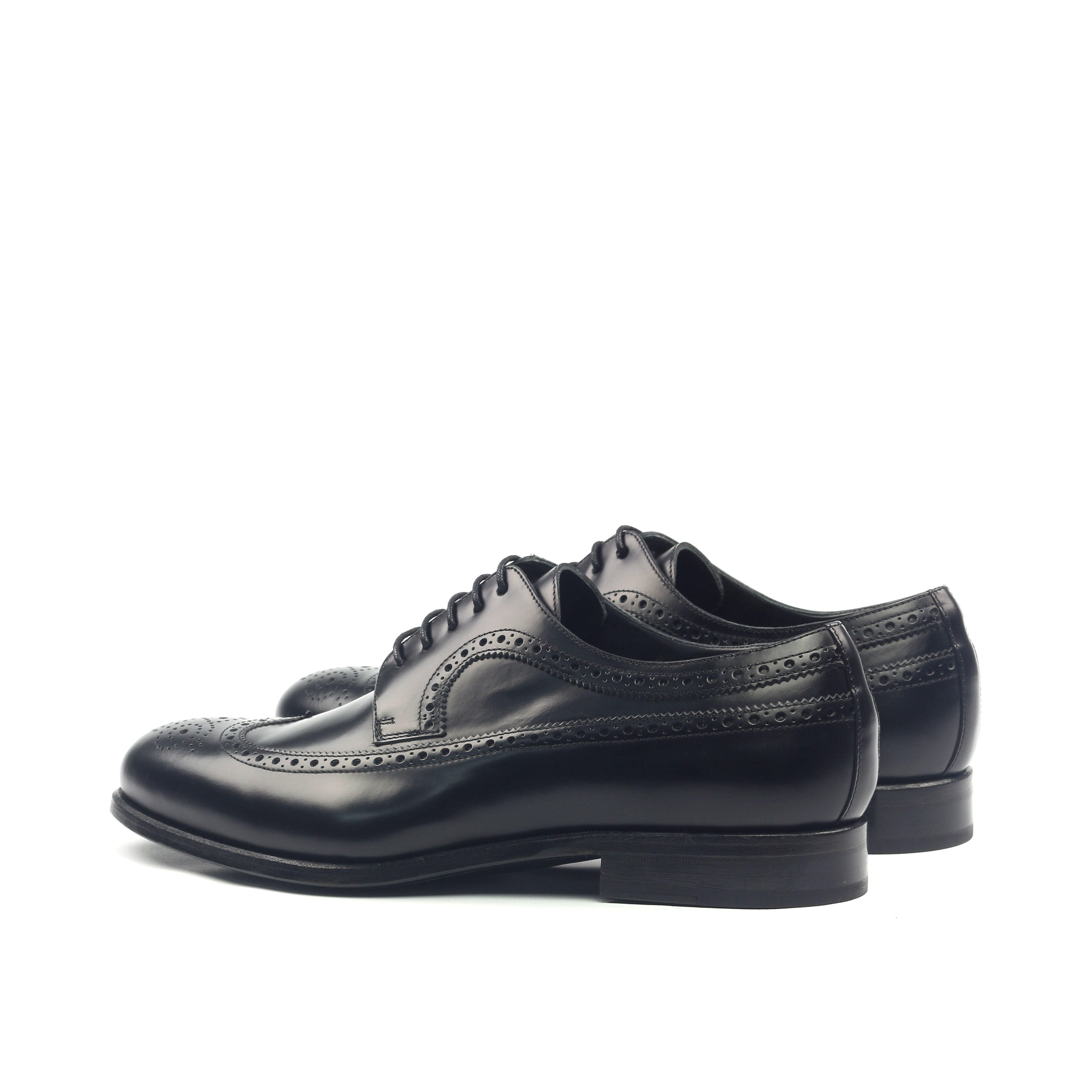 'The Blucher' Black Polished Calfskin Shoe Mens Luxury Back Side View