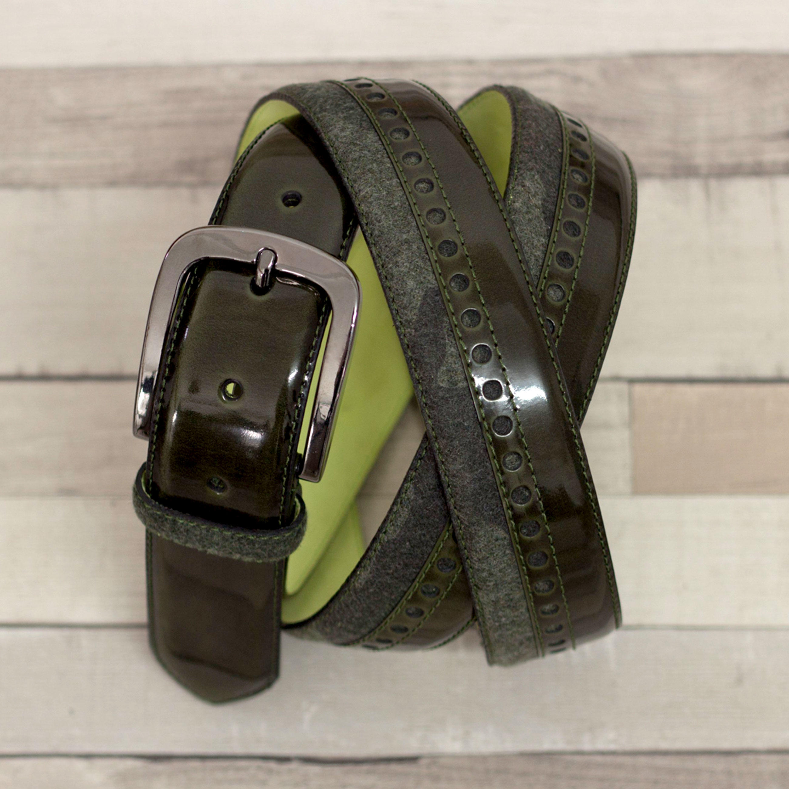 Manor of London 'SunValley' Green Polished Calfskin & Camo Flannel Belt Luxury Mens Belt Leather Full Belt View