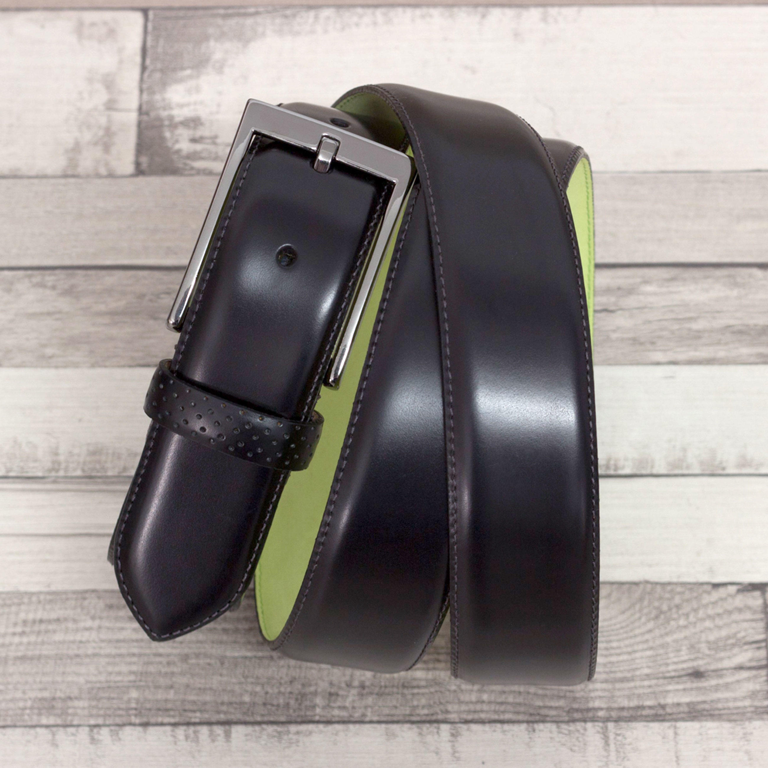 Manor of London 'Hamptons' Black Luxury Polished Calfskin Belt Top View