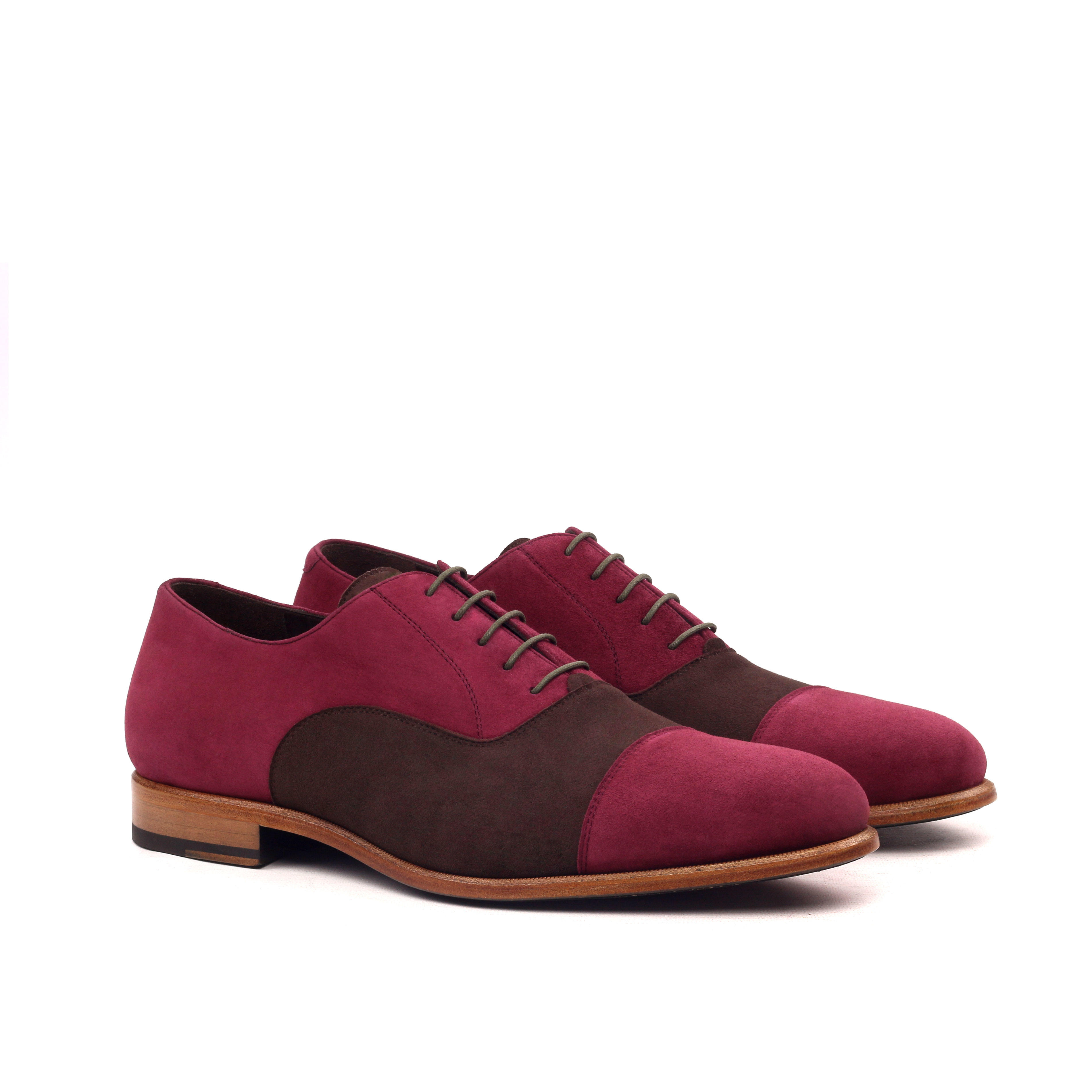 MANOR OF LONDON 'The Oxford' Brown & Wine Suede Shoe Luxury Custom Initials Monogrammed Front Side View