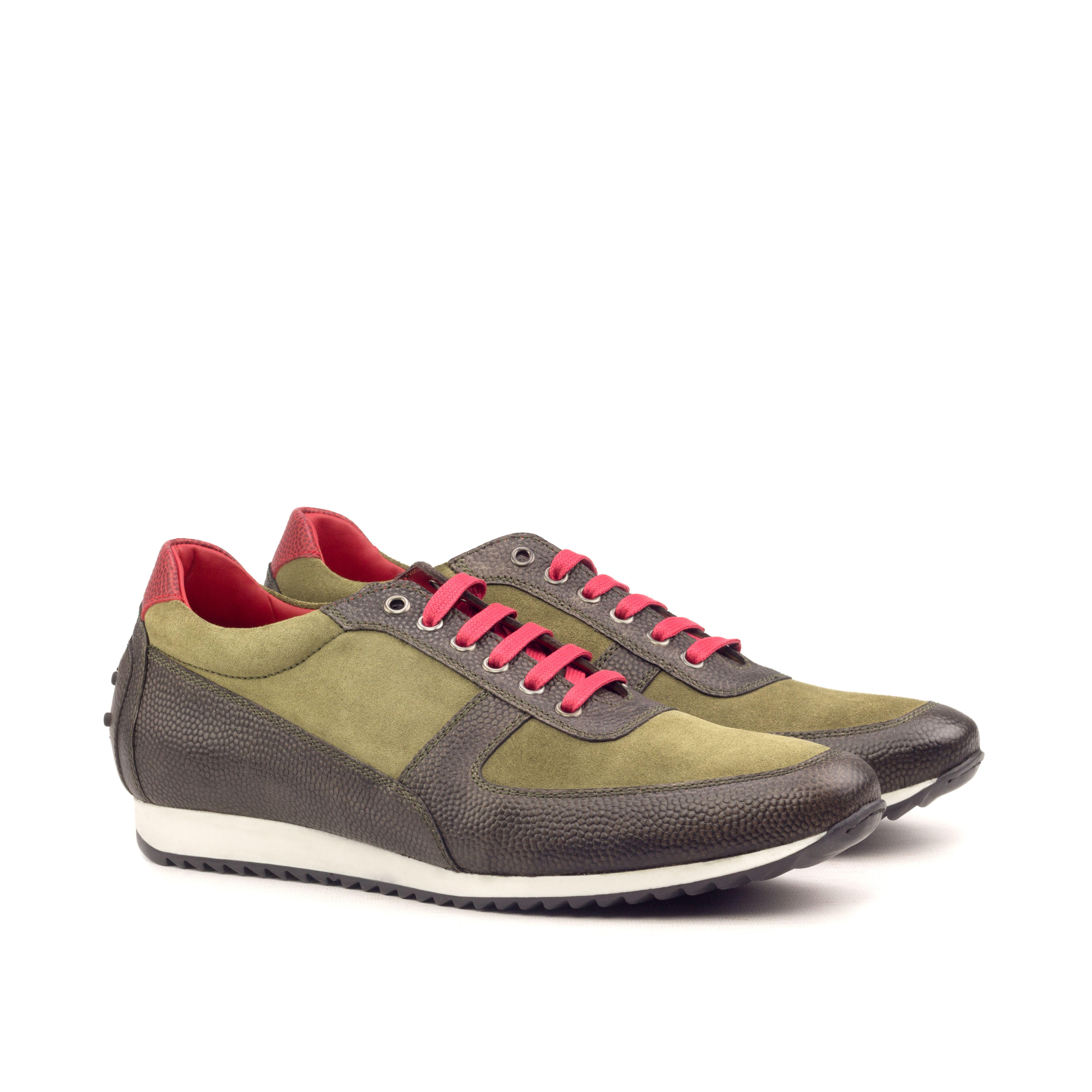 MANOR OF LONDON 'The Runner' Khaki Pebble Grain & Suede Trainer Luxury Custom Initials Monogrammed Front Side View